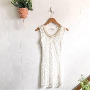 Papaya Pearl White Lace Dress!